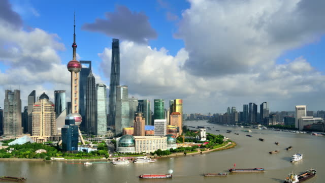 4k: shanghai's city landscape, china - day to sunset stock videos & royalty-free footage