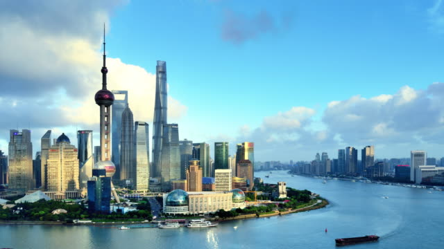 4k: shanghai's city landscape day to sunset time lapse, china - shanghai stock videos & royalty-free footage