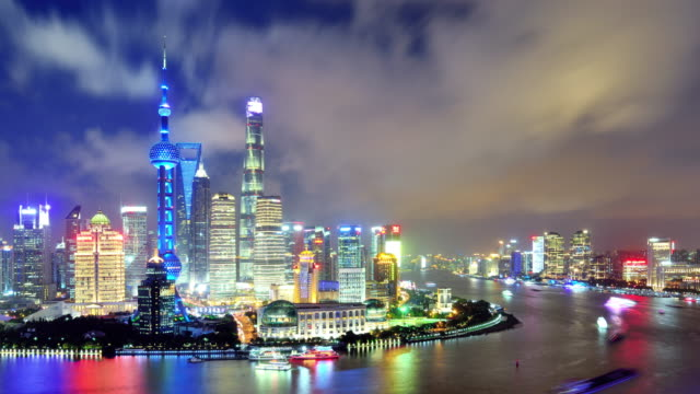 4k: shanghai's city landscape sunset to night time lapse, china - sunset to night time lapse stock videos & royalty-free footage