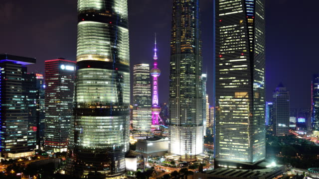 4k: shanghai's lujiazui financial district at night - lujiazui stock videos & royalty-free footage