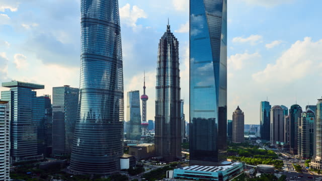 4k: shanghai's lujiazui financial district at sunset, china - lujiazui stock videos & royalty-free footage