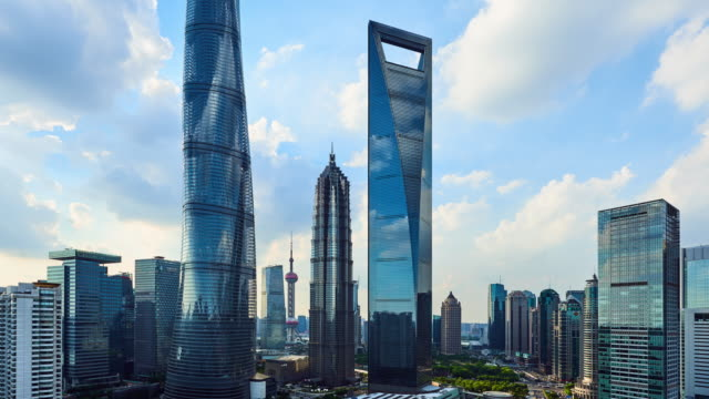 4k: shanghai's lujiazui financial district at sunset, china - shanghai tower stock videos & royalty-free footage
