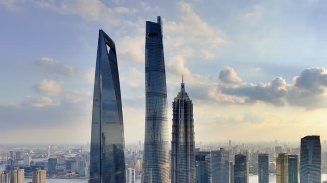 4K: Shanghai's Lujiazui Panoramic Landscape at Day To Sunset Time Lapse, China