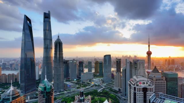 4K: Lujiazui paysage panoramique Shanghai au coucher du soleil, Chine