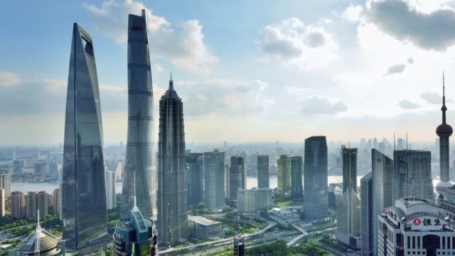 4k: shanghai's lujiazui panoramic landscape, china - lujiazui stock videos & royalty-free footage
