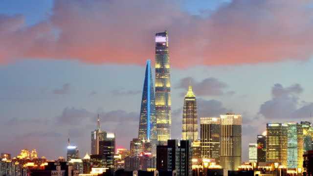 4k: shanghai's lujiazui skyscraper at sunset to night time lapse, china - shanghai stock videos & royalty-free footage
