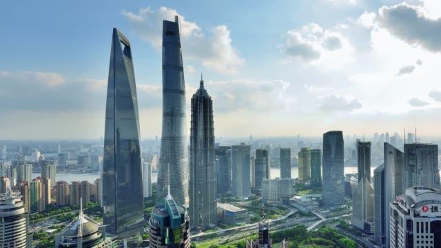 4k: shanghai's lujiazui skyscraper, china - lujiazui stock videos & royalty-free footage