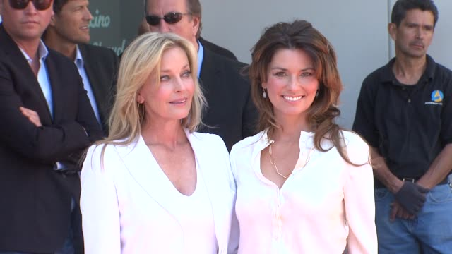 vídeos de stock, filmes e b-roll de shania twain to be honored with star on the hollywood walk of fame hollywood ca united states 06/02/11 - bo derek
