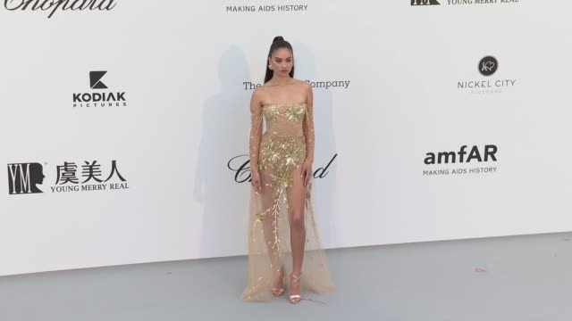 Shanina Shaik at the amfAR Cannes Gala 2019 Arrivals at Hotel du CapEdenRoc on May 23 2019 in Cap d'Antibes France