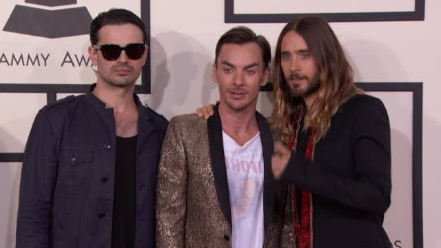 Shannon Leto Jared Leto and Tomo Milicevic at 56th Annual Grammy Awards Arrivals at Staples Center on in Los Angeles California