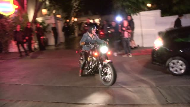 shannon leto on his motorcycle exiting 30 seconds to mars party chateau marmont at celebrity sightings in los angeles shannon leto on his motorcycle... - 30 seconds or greater video stock e b–roll
