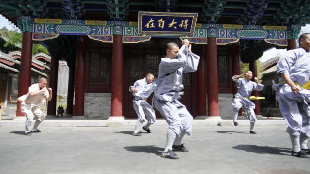shaolin students demonstrate a routine of kicks and punches. - カンフー点の映像素材/bロール