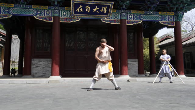 Shaolin students demonstrate Kung-Fu in China.