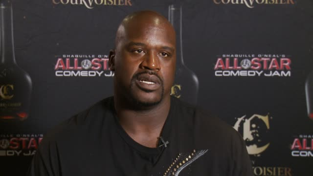 shaq talks about his partnership with courvoisier at c by courvoisier and shaquille o'neal celebrate the c if u can make shaq laugh contest finale on... - shaquille o'neal stock videos & royalty-free footage