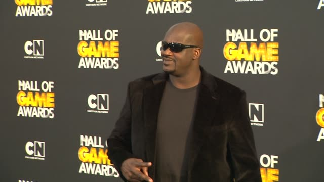 shaquille o'neal at cartoon network hosts second annual hall of game awards on 2/18/12 in santa monica, ca. - shaquille o'neal stock videos & royalty-free footage