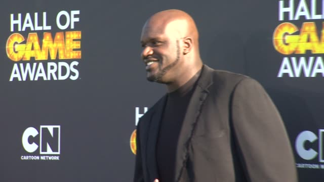 shaquille o'neal at cartoon network hosts third annual hall of game awards on 2/9/13 in los angeles, ca . - shaquille o'neal stock videos & royalty-free footage