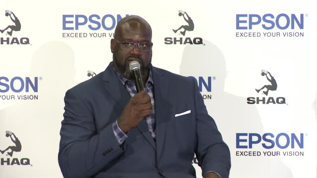 shaquille o'neal at the epson and shaquille o'neal announce new partnership in los angeles, ca 7/9/19 - shaquille o'neal stock videos & royalty-free footage