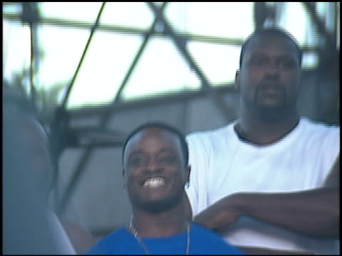shaquille o'neal at the kroq weenie roast at verizon amphitheater in irvine california on june 23 2001 - kroq weenie roast stock videos & royalty-free footage