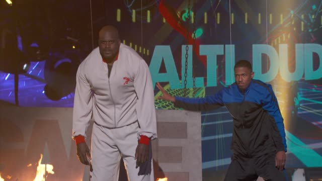 shaquille o'neal, nick cannon at cartoon network hosts third annual hall of game awards on 2/9/13 in los angeles, ca . - shaquille o'neal stock videos & royalty-free footage