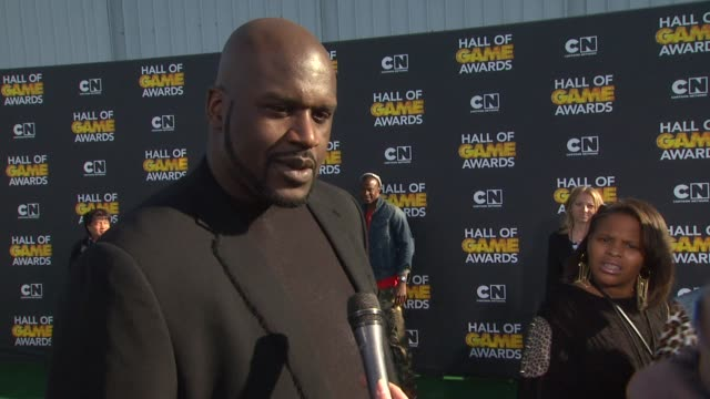 shaquille o'neal on hosting the award show, on what fans can expect, on who he brought with him tonight, on if there's anyone he's excited to meet... - shaquille o'neal stock videos & royalty-free footage