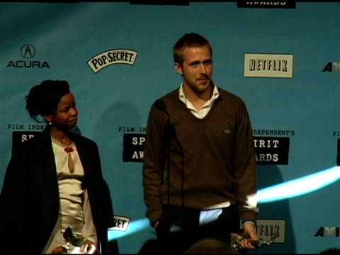 shareeka epps winner best female lead for half nelson and ryan gosling winner best male lead for half nelson on how they both meet how he feels about... - ryan gosling stock videos and b-roll footage