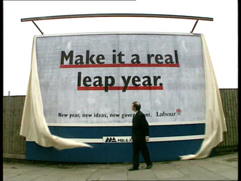 MS Bryan Gould MP unveiling hoarding 'Make It A Real Leap YearNew Year new ideas new government Labour'