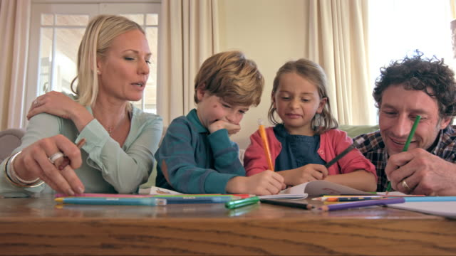 sharing family fun - crayon stock videos & royalty-free footage