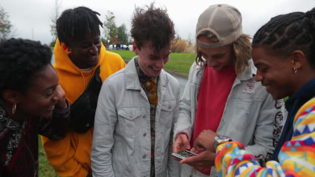 sharing socials in the park - adolescence stock videos & royalty-free footage
