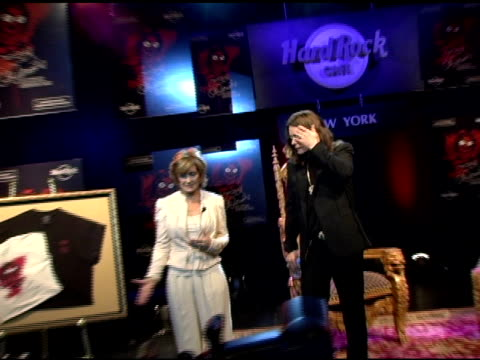 sharon and ozzy osbourne at the unveiling of signature series tshirt with ozzy and sharon osbourne at hard rock cafe in new york new york on july 28... - hard rock cafe stock videos & royalty-free footage