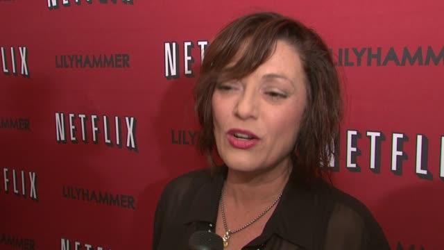 sharon angela on steven van zandt's humor at north american premiere of lilyhammer, a netflix original series at crosby street hotel on 02/01/12 in... - スティーブン ヴァン ザント点の映像素材/bロール