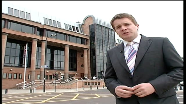 trial opens for five men accused of her murder newcastleupontyne the quayside newcastle crown court ext reporter to camera - pc sharon beshenivsky stock videos & royalty-free footage