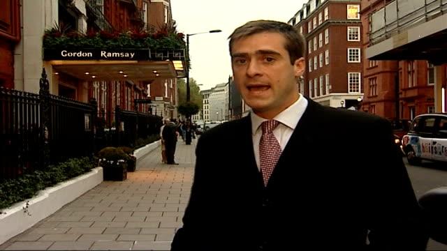 sharon bridgewater jailed for fraud london ext entrance to gordon ramsay's restaurant at claridge's hotel reporter to camera - gordon ramsay stock videos and b-roll footage