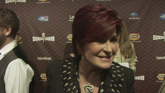 sharon osbourne talks about how exciting it is to be out all together as a family and how people love to be scared at the spike tv's scream 2008 at... - sharon osbourne stock videos & royalty-free footage