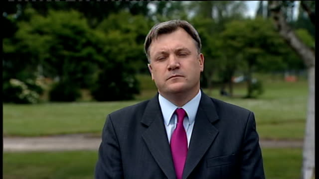 sharon shoesmith in line for payout after judge criticises her dismissal england london gir int ed balls mp 2 way interview from leeds sot - ギールフォーレスト国立公園点の映像素材/bロール