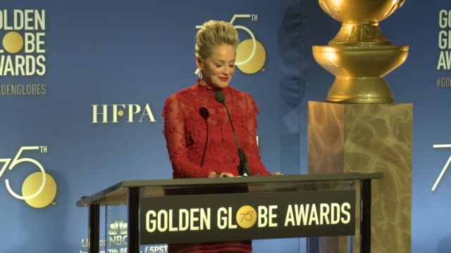 speech sharon stone announces motion picture nominees at the 75th annual golden globe award nominations at the beverly hilton hotel on december 11... - golden globe awards stock-videos und b-roll-filmmaterial