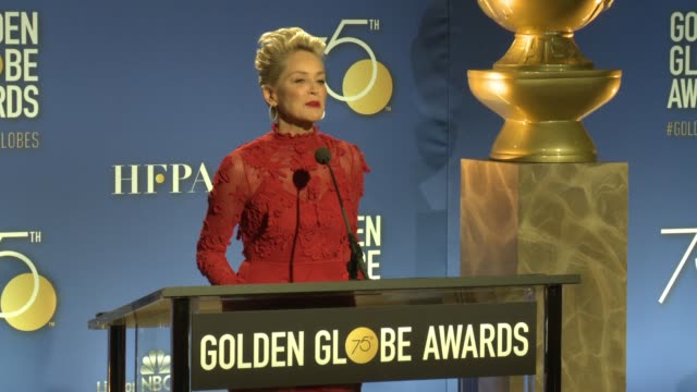 speech sharon stone announces television series and motion picture nominees at the 75th annual golden globe award nominations at the beverly hilton... - golden globe awards stock-videos und b-roll-filmmaterial