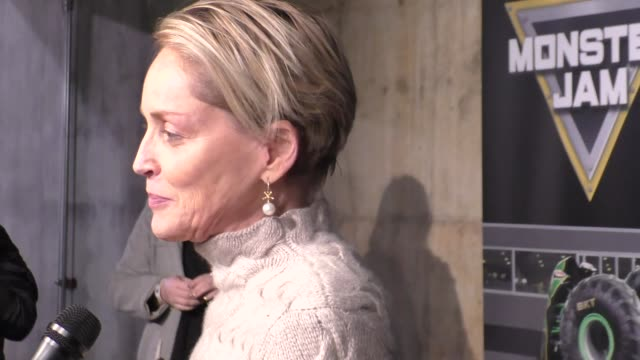 sharon stone at monster jam celebrity night at angel stadium of anaheim at celebrity sightings in los angeles on january 16, 2016 in los angeles,... - angel stadium stock videos & royalty-free footage
