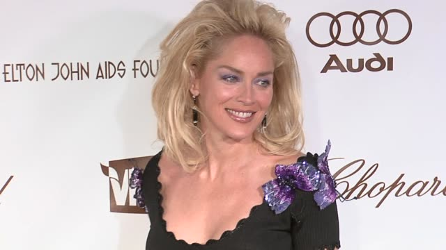 sharon stone at the 14th annual elton john aids foundation oscar party co-hosted by audi, chopard and vh1 at the pacific design center in west... - oscar party stock videos & royalty-free footage