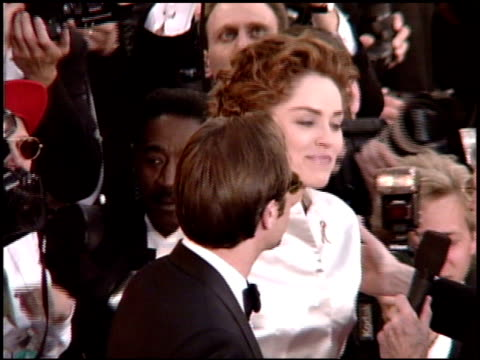 sharon stone at the 1995 academy awards arrivals at the shrine auditorium in los angeles, california on march 27, 1995. - shrine auditorium stock videos & royalty-free footage