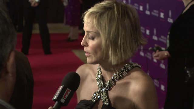 vídeos y material grabado en eventos de stock de sharon stone at the 2008 presentation of the 23rd annual american cinematheque award at los angeles ca - premio american cinematheque