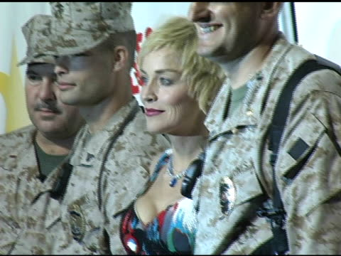 sharon stone at the rockin' the corp an american thank you celebration concert for us marines at camp pendelton marine base in oceanside california... - oceanside stock videos and b-roll footage