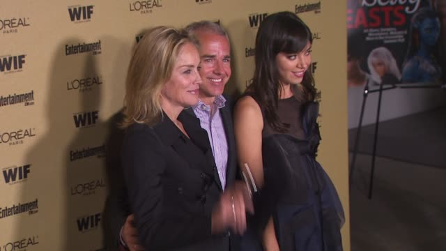 sharon stone, jess cagle, and aubrey plaza at the entertainment weekly and women in film pre-emmy party at west hollywood ca. - pre emmy party stock videos & royalty-free footage