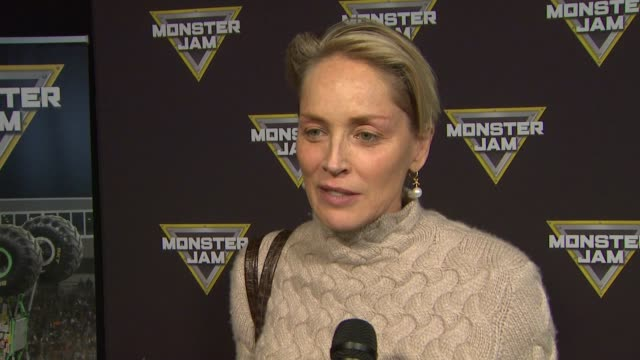 INTERVIEW Sharon Stone on being at the event and what her young boys think at Monster Jam Celebrity Night at Angel Stadium of Anaheim on January 16...