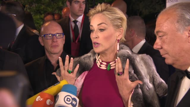 INTERVIEW Sharon Stone on the brand being in Cannes at De Grisogono Party at Hotel du CapEdenRoc on May 20 2014 in Cap d'Antibes France