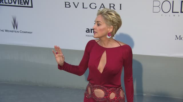 sharon stone on the importance of amfar at amfar red carpet at hotel du cap-eden-roc on may 22, 2014 in cap d'antibes, france. - amfar stock videos & royalty-free footage