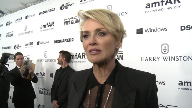INTERVIEW Sharon Stone on why it was important for her to support amfAR at amfAR's Inspiration Gala Los Angeles 2015 in Los Angeles CA