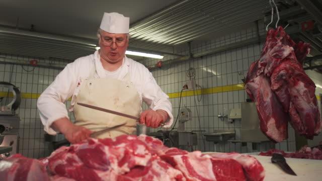 vídeos de stock e filmes b-roll de sharpen knives - só um homem maduro