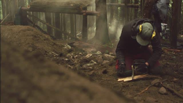 sharpening tree saw blade - lumberjack stock videos & royalty-free footage