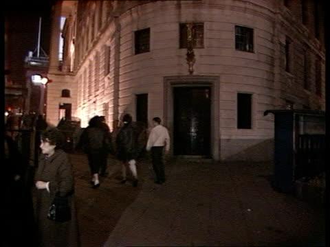 Trafalgar Square AV Floodlit facade of South African Embassy in London TILT DOWN as people walking past Embassy INT CMS JUSTUS DE GOEDE INTVW SOF 'I...