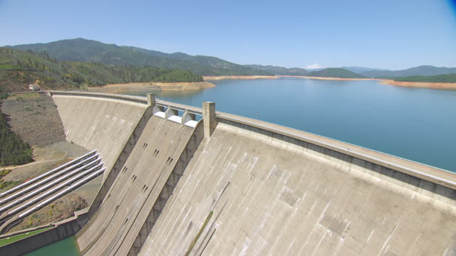 WS AERIAL POV Shasta Dam and Mount Shasta in Background at Northern California, California